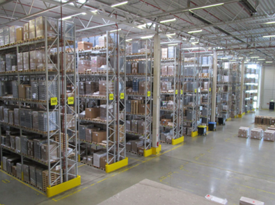 Shelving inside Rhenus Pharma Warehouse Bingen